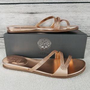 NEW Vince Camuto Pink Bisque Satin Slide Sandals